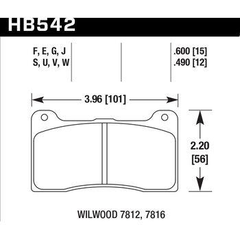 Колодки тормозные HB542F.600 HAWK HPS Wilwood DynaPro; Stoptech ST-42; 15 mm
