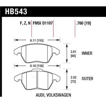 Колодки тормозные HB543B.760 HAWK Street 5.0 передние AUDI A3 / VW Golf 5,6 , Passat CC, B6, B7