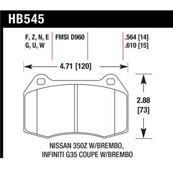 Колодки тормозные HB545F.564 HAWK HPS передние INFINITI G35 / Nissan 350Z (комплектация BREMBO)