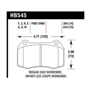 Колодки тормозные HB545Z.564 HAWK PC передние INFINITI G35 / Nissan 350Z (комплектация BREMBO)