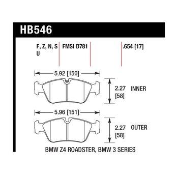 Колодки тормозные HB546N.654 HAWK HP+ передние BMW 3 (E36), (E46), Z3, Z4