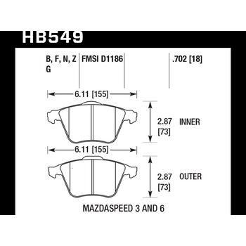 Колодки тормозные HB549Z.702 HAWK PC передние MAZDA 3 MPS, 6 MPS / FORD Focus 2 ST / OPEL VECTRA 2,8