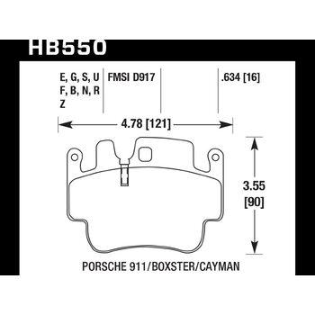 Колодки тормозные HB550Z.634 HAWK Perf. Ceramic Porsche 16 mm Porsche 911 (996), (997), Boxter (986