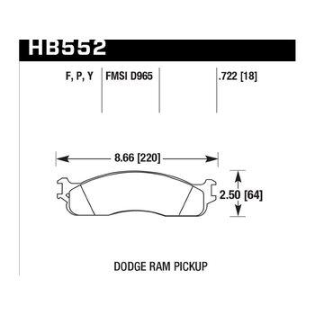 Колодки тормозные HB552P.722 HAWK SuperDuty DODGE RAM