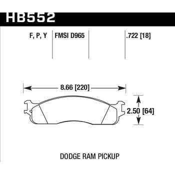 Колодки тормозные HB552Y.722 HAWK LTS DODGE RAM