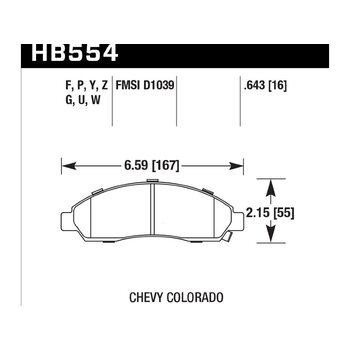 Колодки тормозные HB554F.643 HAWK HPS