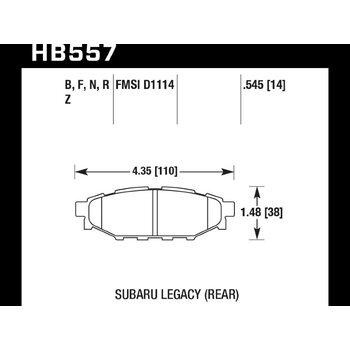Колодки тормозные HB557N.545 HAWK HP Plus задние Subaru BR-Z, Forester SG, SH, Impreza GH, Legacy