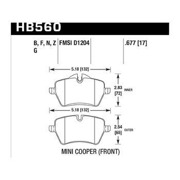 Колодки тормозные HB560N.677 HAWK HP Plus передние MINI COOPER S II