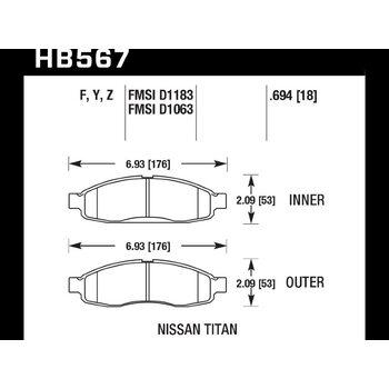 Колодки тормозные HB567Z.694 HAWK PC передние INFINITI QX56 / Nissan Armada, Pathfinder до 2006 г.в.