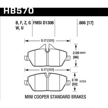 Колодки тормозные HB570F.666 HAWK HPS передние MINI COOPER 2 (R56) / BMW 1 (E87) 116i, 118i