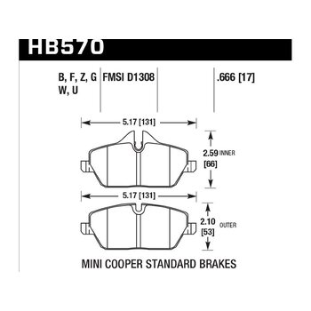Колодки тормозные HB570Z.666 HAWK PC передние MINI COOPER 2 (R56) / BMW 1 (E87) 116i, 118i