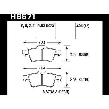 Колодки тормозные HB571N.605 HAWK HP+ задние FORD C-MAX, FOCUS 2 / MAZDA 3,5 / SAAB 9-3 / (с пружино