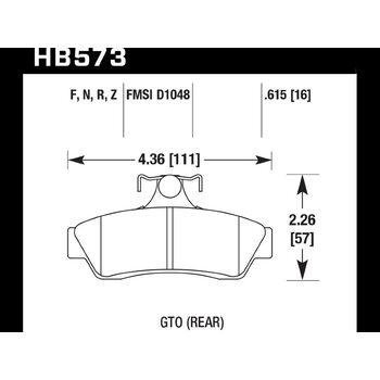 Колодки тормозные HB573F.615 HAWK HPS