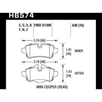 Колодки тормозные HB574N.636 HAWK HP Plus задние MINI COOPER 2 (R56) / BMW 1 (E87) 116i, 118i
