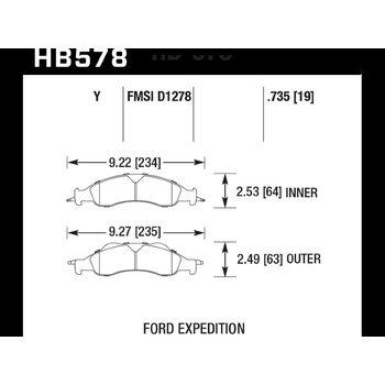 Колодки тормозные HB578Y.735 HAWK LTS
