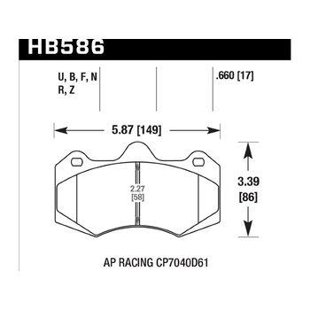 Колодки тормозные HB586B.660 HAWK Street 5.0 AP Racing CP7040, CP9040