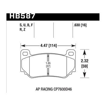 Колодки тормозные HB587B.630 HAWK HPS 5.0; 16mm