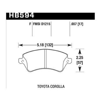 Колодки тормозные HB594F.657 HAWK HPS; 17mm