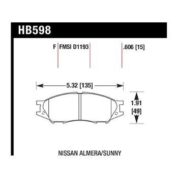 Колодки тормозные HB598F.606 HAWK HPS; 16mm