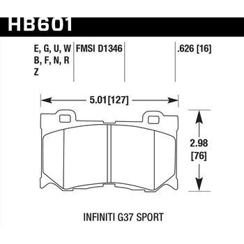 Колодки тормозные HB601B.626 HAWK Street 5.0 передние INFINITI FX50/FX37/G37/ Nissan 370Z