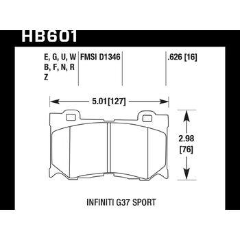 Колодки тормозные HB601F.626 HAWK HPS передние INFINITI FX50/FX37/G37/ Nissan 370Z