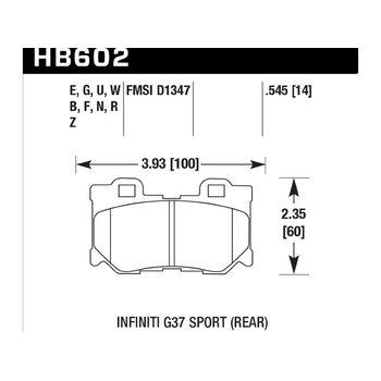 Колодки тормозные HB602N.545 HAWK HP Plus