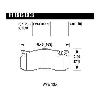 Колодки тормозные HB603Z.616 HAWK PC; 16mm