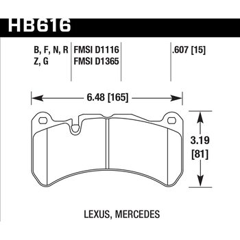 Колодки тормозные HB616B.607 HAWK STREET 5.0 передние MERCEDES CLK (C209) 5.5 55 AMG; HPB тип 7