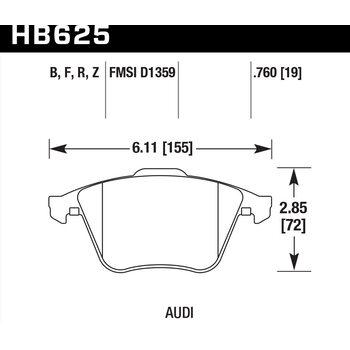 Колодки тормозные HB625R.760 HAWK STREET RACE передние Audi TT (8J) / S3 (8P) / Volkswagen Golf R