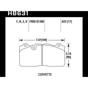 Колодки тормозные HB631N.622 HAWK HP Plus