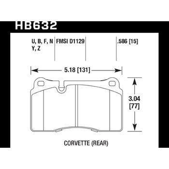 Колодки тормозные HB632Y.586 HAWK LTS; 15mm