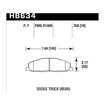 Колодки тормозные HB634Y.750 HAWK LTS; 19mm