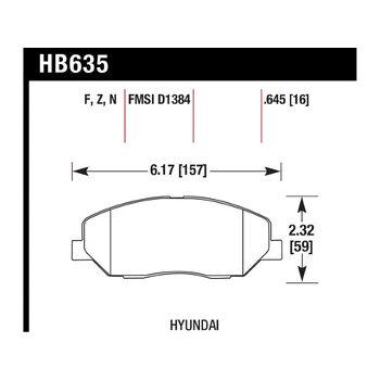 Колодки тормозные HB635F.645 HAWK HPS; 17mm