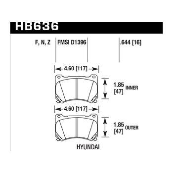 Колодки тормозные HB636N.644 HAWK HP Plus