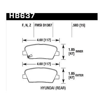 Колодки тормозные HB637F.583 HAWK HPS; 15mm