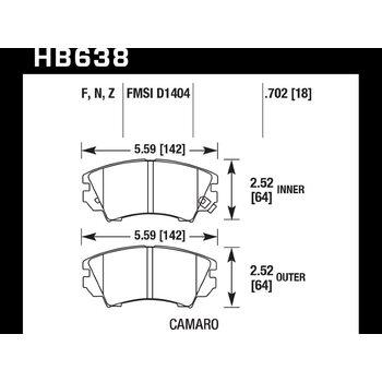 Колодки тормозные HB638Z.702 HAWK Perf. Ceramic Opel Astra J 1.4 / 1.6 Turbo
