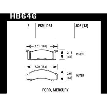 Колодки тормозные HB646F.526 HAWK HPS