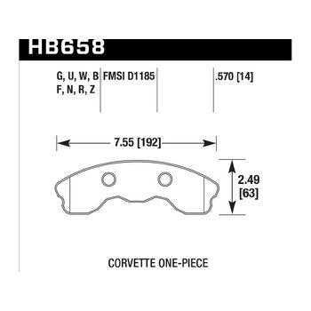 Колодки тормозные HB658N.570 HAWK HP Plus