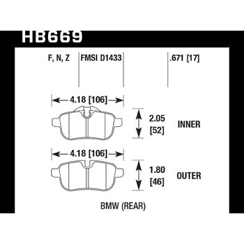 Колодки тормозные HB669F.671 HAWK HPS