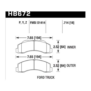 Колодки тормозные HB672P.714 HAWK SuperDuty; 18mm