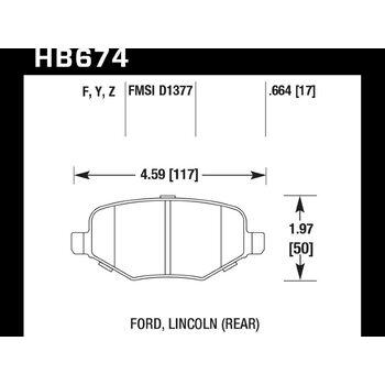 Колодки тормозные HB674F.664 HAWK HPS