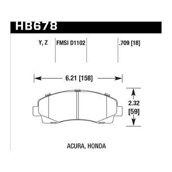 Колодки тормозные HB678Z.709 HAWK Perf. Ceramic перед Honda Ridgeline ; Acura TL 2009-2013