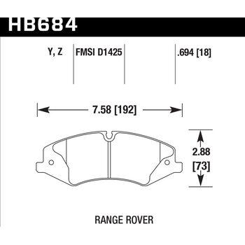 Колодки тормозные HB684Y.694 HAWK LTS Range Rover Sport V8 5.0, 3.0TD