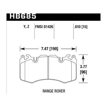 Колодки тормозные HB685Y.610 HAWK LTS, AMG 6.3 / RANGE ROVER BREMBO