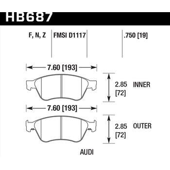 Колодки тормозные HB687F.750 HAWK HPS AUDI S6, S8 2007-2012
