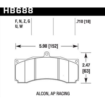 Колодки тормозные HB688N.710 HAWK HP Plus PROMA 6 порш, AP Racing, Stop Tech, JBT, Alcon, XYZ