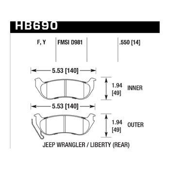 Колодки тормозные HB690Y.550 HAWK LTS; 14mm