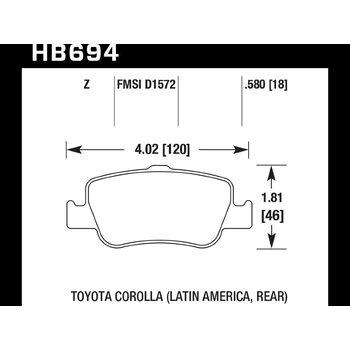 Колодки тормозные HB694Z.580 HAWK Perf. Ceramic
