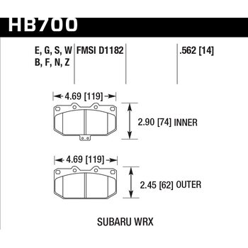 Колодки тормозные HB700B.562 HAWK Street 5.0 перед Subaru WRX
