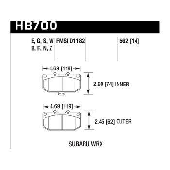 Колодки тормозные HB700Z.562 HAWK Perf. Ceramic перед Subaru WRX